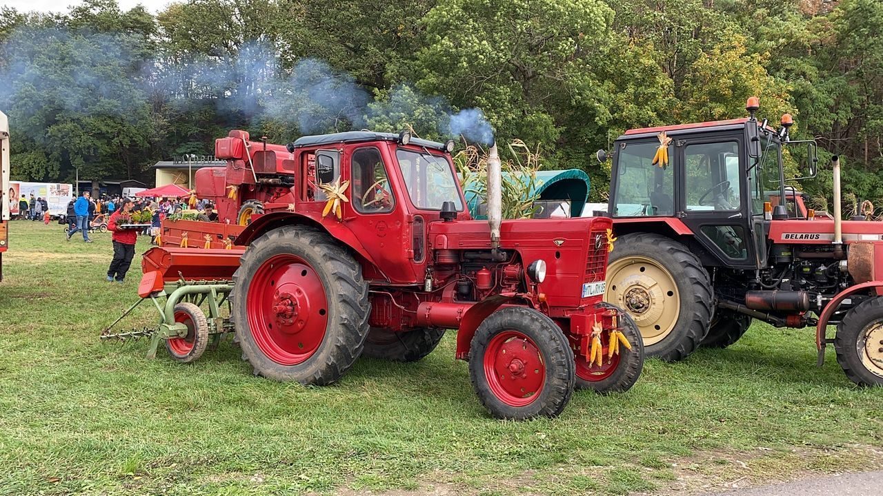 RED TRACTOR ON FIELD