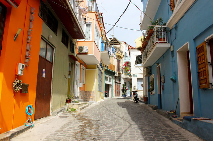Architecture Blue Blue And Orange Coiffure Day Diminishing Perspective Empty Greece Lesbos Lesvos Mediterranean  No People Orange Orange And Blue Quiet Road Street The Way Forward Town Vanishing Point Village Village Life