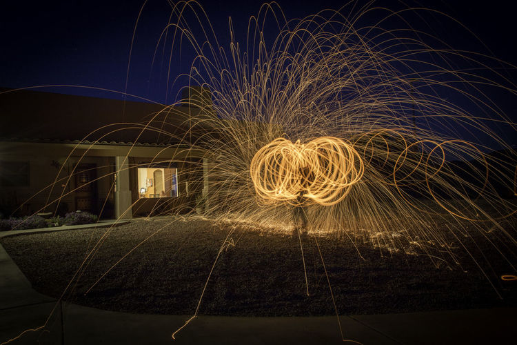 My lawn! The Week On EyeEm Circle Glowing Illuminated Light Painting Long Exposure Motion Nature Night Outdoors Real People Sky Speed Spinning Wire Wool