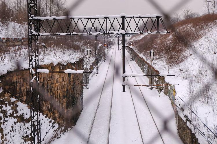 Winter scenery of chorzów. railway line in winter scenery. winter in silesia. silesia in the lens.