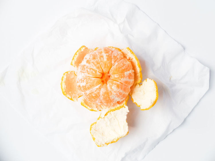 Close-up Food Freshness Fruit Healthy Eating High Angle View Indoors  Ready-to-eat Sweet Food Tangerine White Background