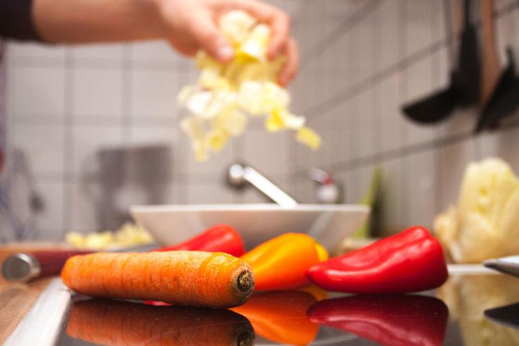 Food Stories Check This Out Cooking Salad Vegetarian Food Carrot Fresh Salad  Kitchen Making Salad Paprika Pepper Preparation  Preparing Food Salad Bowl Salad Time Slow Motion Vegetables Veggie