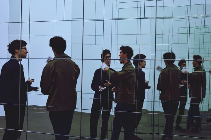 People Adult Standing Men Young Adult Outdoors Adults Only Berlin Hamburger Bahnhof Hamburger Bahnhof - Museum Für Gegenwart Deutsch Deutschland Germany Mirror Reflections Reflection Museum Art