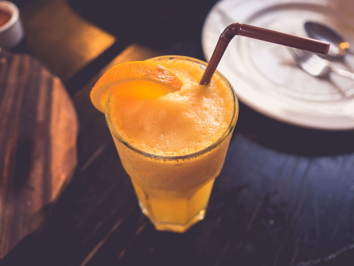 Orange Drink Refreshment Healthy Eating Food And Drink Close-up Indoors  Happy Hour Cold Refresh Restuarant Straw Fruit Cool Water Thirsty