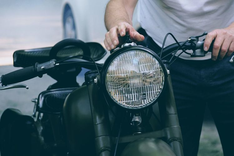 Automotive Passion Hobby People Biker Motorcycle Bicycle Land Vehicle Front View Stationary Riding Men Close-up A New Perspective On Life My Best Photo