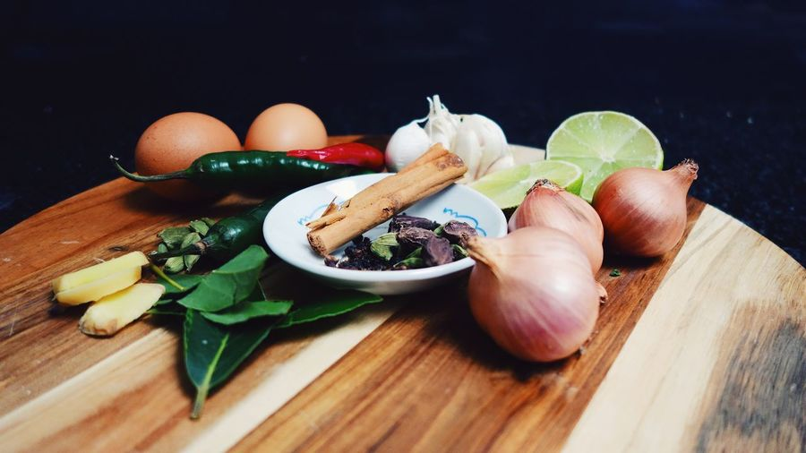 Close-up of food on cutting board