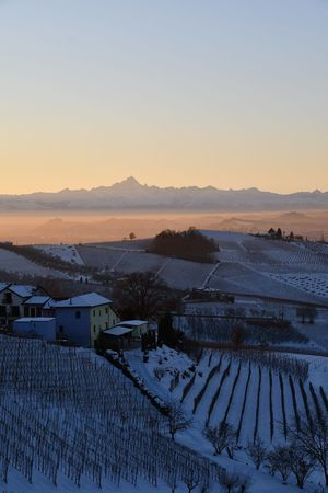 Snowed Hills Mountains And Hills Winterscapes Winter Sunset Travel Destinations Langhe Top Of The Hills Outdoor Monviso Travel Snowy Landscape Snowed Landscape Frozen Landscape  Snow Winter Cold Temperature Agriculture Sunset Landscape Nature Tranquility Outdoors Scenics Beauty In Nature Rural Scene Pastel Colored Beauty