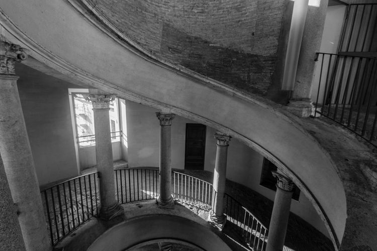 Architecture Black & White Blackandwhite Built Structure Day Indoors  Light Light And Shadow Monochrome No People Railing S Spiral Staircase Steps Steps And Staircases Vatican VaticanCity