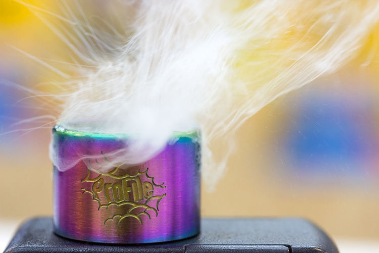 The Wotofo Profile RDA Indoors  Close-up Technology No People Motion Chemistry Science Scientific Experiment Multi Colored Smoke - Physical Structure Pink Color Creativity Communication Pastel Colored Education Art And Craft Research Lens Flare Purple Profile View Rda Wotofo Vapour Rainbow