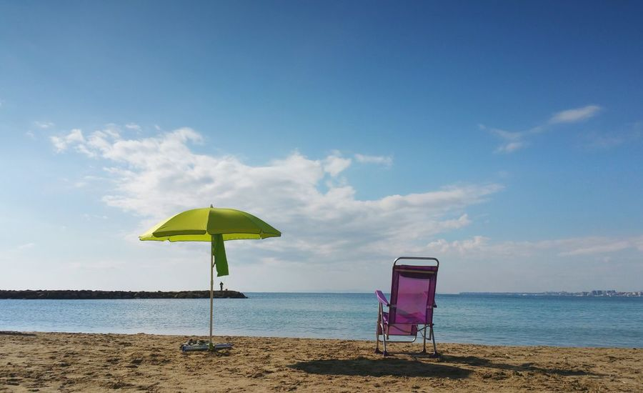 ... Sea Beach Blue Sky Sand Water València Mediterranean  España SPAIN Landscape Mar Море Torrevieja Travel Travel Destinations Playa Umbrella Chair пляж курорт зонтик