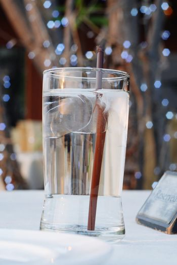 Water Cold Temperature Drink Tonic Water Drinking Glass Ice Cube Cocktail Defocused Table Summer Close-up Vodka