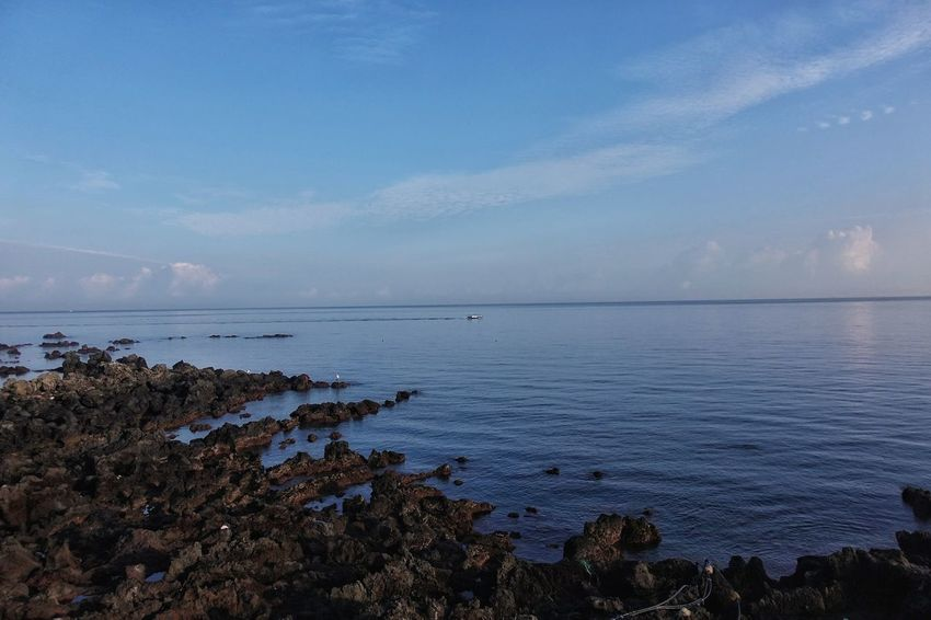 Korea Photos Sea Beach Water Nature Jeju Horizon Over Water Tranquility No People Sky Outdoors Blue Beauty In Nature Landscape Scenics Low Tide Day Nature VacationsBeach View Wave Jejudo Tranquility Beach Streamzoofamily