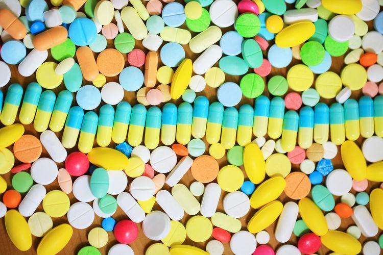 Full frame shot of colorful pills