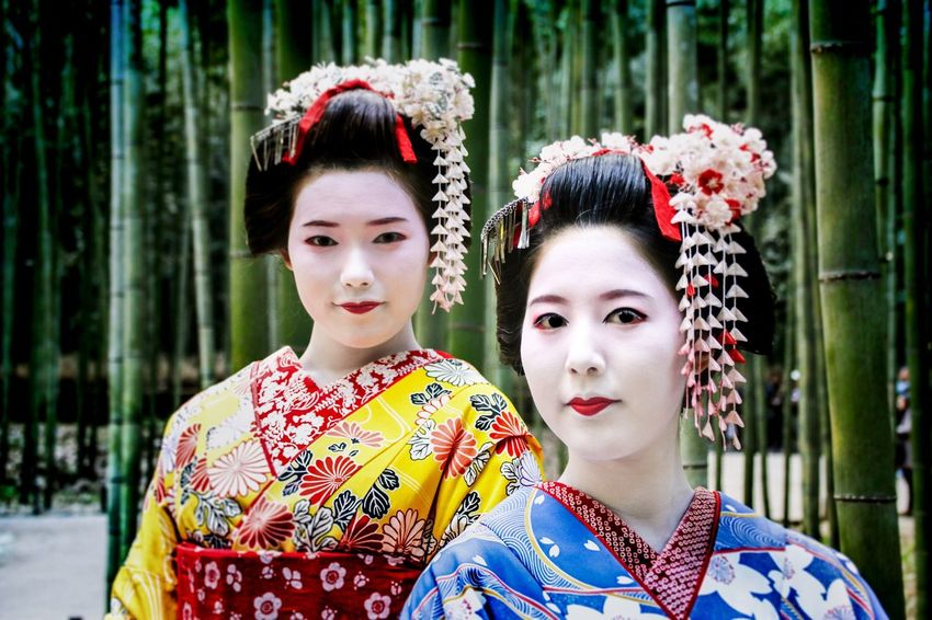 Wandering amongst the Bamboo forest in Japan to find these young Geishas strolling quietly together... Traditional Clothing Geisha Kimono EyeEmPortraits The Portraitist - 2017 EyeEm Awards EyeEmNewHere Bamboo Forest Japan Japanese Culture Japanese Style Portrait Make-up Women Secret Life Nofilter Canon 70d