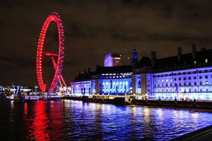Night Arts Culture And Entertainment Illuminated Travel Destinations Architecture Ferris Wheel Cityscape Nightlife Outdoors City Water TamisaRiver London Londoeye Be Brave