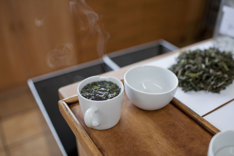 High Angle View Of Green Tea In Table