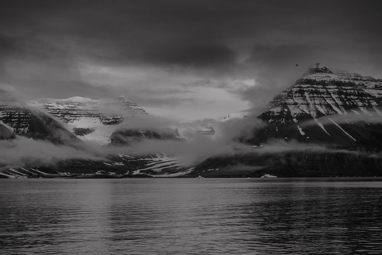 Mountain landscape, Scoresby Sund fjord, east coast of Greenland. Black & White Dark Darkness Global Warming Greenland Nature Tranquility Arctic Black And White Black And White Photography Blackandwhite Climate Change Cloud - Sky Cold Cold Temperature Iceberg Landscape Mountain Scenery Scenics Snow Tranquil Scene