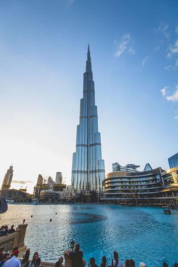 Burj Khalifa Travel Destinations Travel Outdoors Architecture Tall - High Skyscraper Building Exterior City Building Sky Tower No People Dubai Dubai Skyline Dubai Burj Khalifa Burj Khalifa Sunset Dubai Sunset Emaar Wasserspiele Water Waterfront Tourism