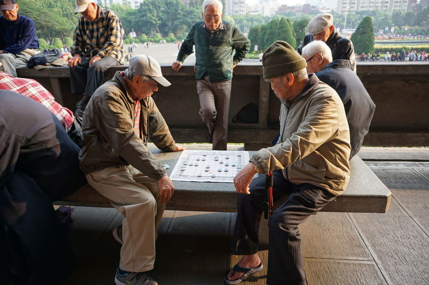 ASIA Board Game Brain Chess City City Life Friendship Leisure Activity Lifestyles Medium Group Of People Men Smart Table Game Taipei Taiwan
