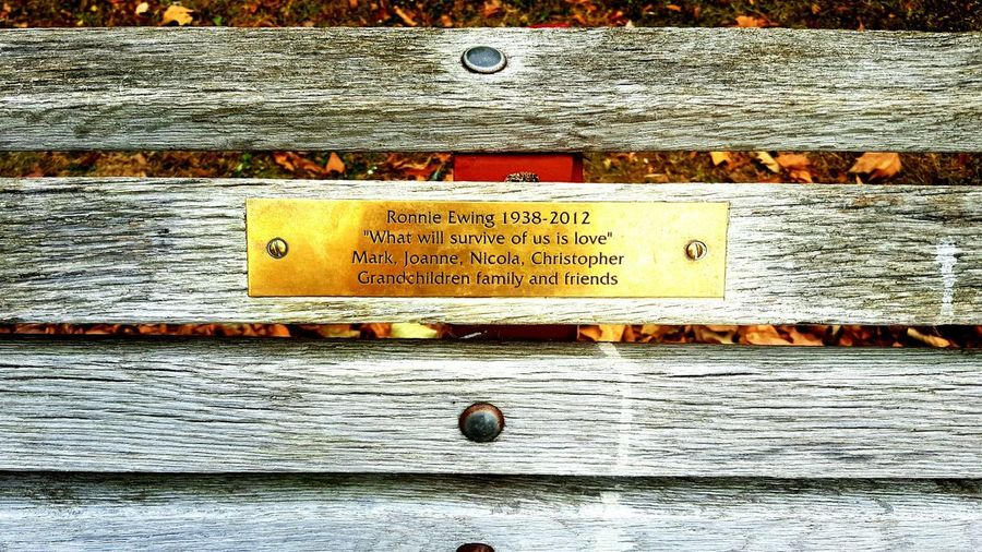 Text No People Wood - Material Outdoors Close-up Metal Bench Bench Seat Bench Art Bench Dedication Of Love Love Love Memories Love Message Forever Forever In My Heart Family Vintage Old Lieblingsteil