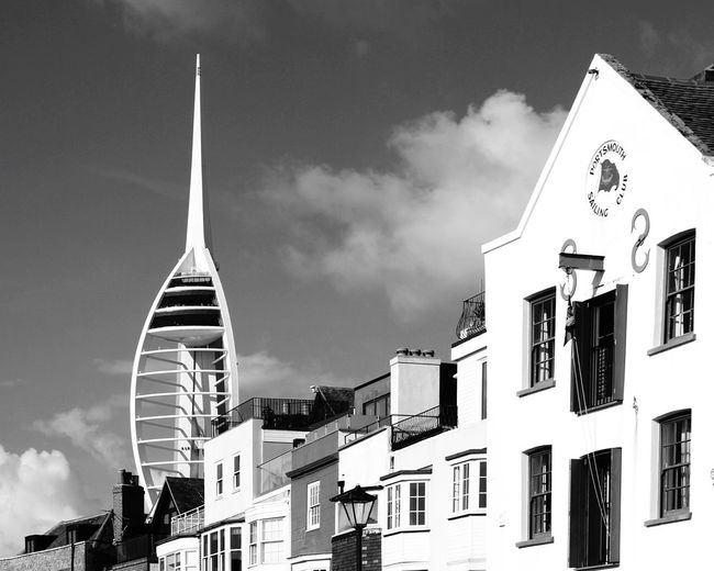 EyeEm Selects Spinaker Tower Architecture Building Exterior Cloud - Sky Cityscape City Travel Destinations Urban Skyline Clock Face Traveling Photography Cityscape Travel City Life The Week On EyeEm Travel Photography EyeEmNewHere Architecture City Portsmouth Harbour Black & White Bnw_worldwide Black And White Bnw_collection Black&white Photography Black And White Friday