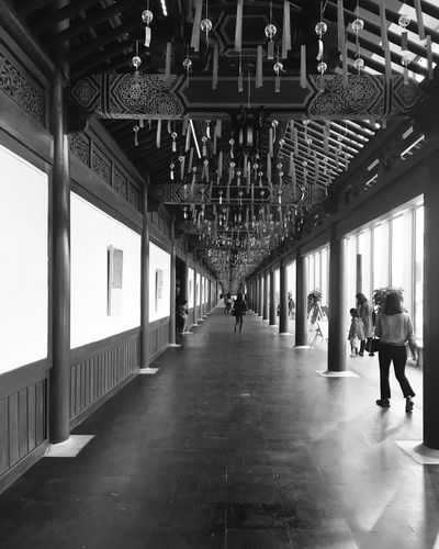 China Blackandwhite Travel Built Structure Architecture Indoors  The Way Forward Direction Real People Lifestyles Corridor Arcade