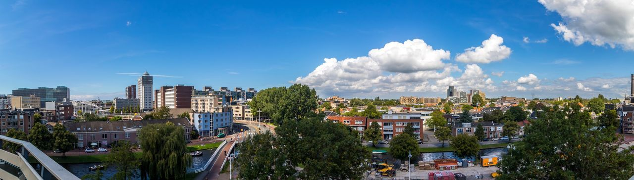 Architecture Building Exterior Sky City Cityscape Cloud - Sky Built Structure Crowded High Angle View Tree Day Outdoors Blue Skyscraper Modern Nature Pamoramic Panorama Leiden