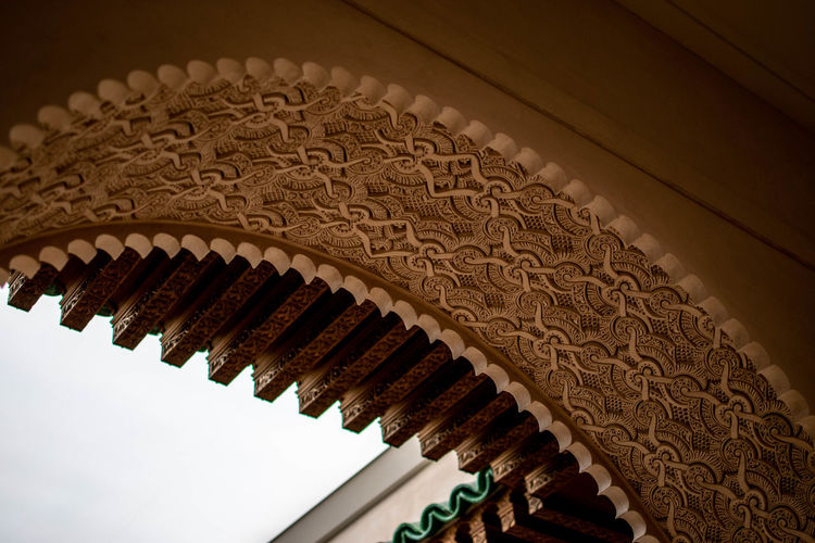 Low angle view of carving on wall