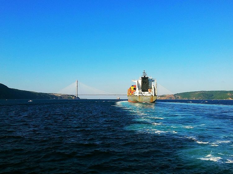 Colour Of Life The blues. Sea Sea And Sky Water Ship Boat Bridge Seascape Sea View Bridge View Colors Tanker Cargo Ship Bosphorus Bosphorus, Istanbul Istanbul
