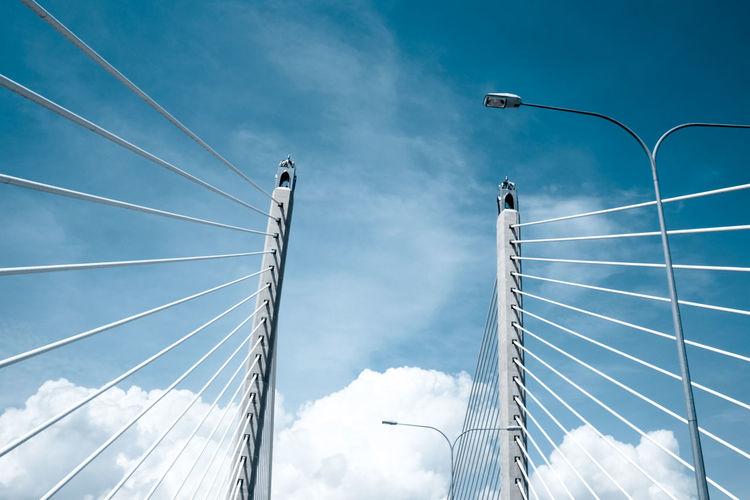 Low angle view of cable bridge against sky