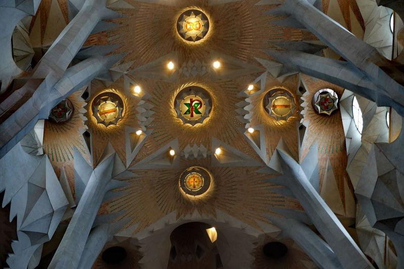 Inside Sagrada Clock Day Gaudi Indoors  Inside Sagrada Familia Low Angle View No People Sagrada Familia