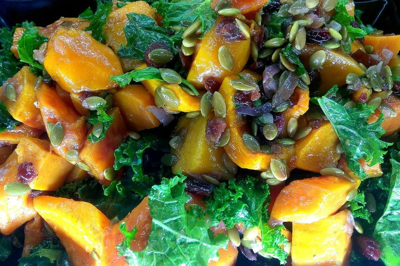 butternut squash, kale, pumpkin seed, dried cranberries salad. photo by Shell Sheddy Food Salad Butternut Squash Shellsheddyphotography Sheshephoto Pumpkin Seed Craisins Kale Salad Foodphotography Backgrounds Full Frame Close-up Redefining Menswear