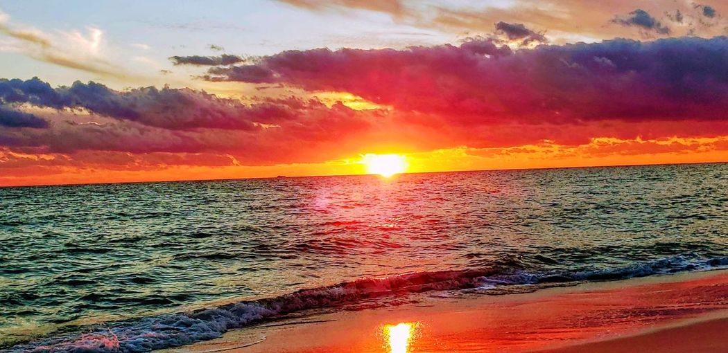 Water Sea Sunset Beach Multi Colored Wave Sand Sun Sunlight Red