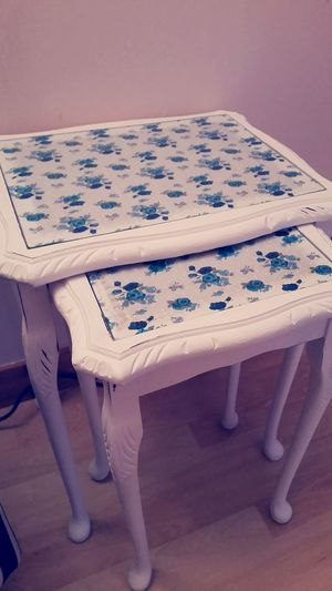 Table nest (2) in chalk white with white and teal blue material. Complete glass cover. £30. First Eyeem Photo