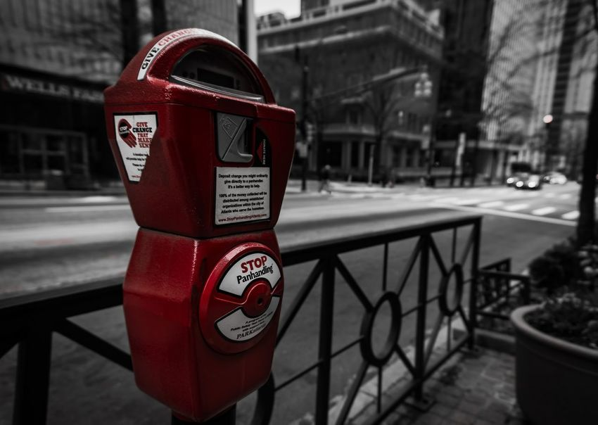 Instagram instameet in Atlanta Georgia. @fotofrolic Parking Meter Selective Color Selective Focus Black And White City Streets Atlanta