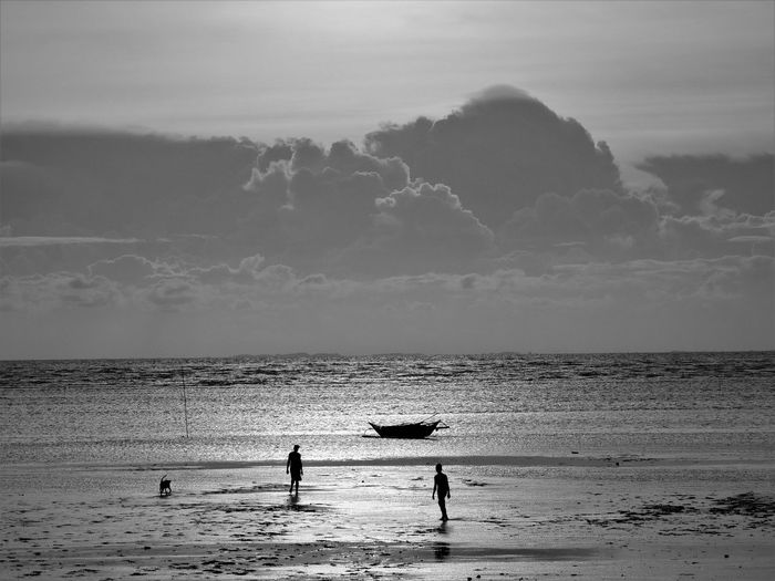 Silhouette men walking at beach against cloudy sky