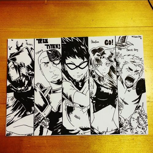 Me Drawing Teentitans Black & White 2015  Enjoy Lovethemsomuch Working Hard Evening June ♡~