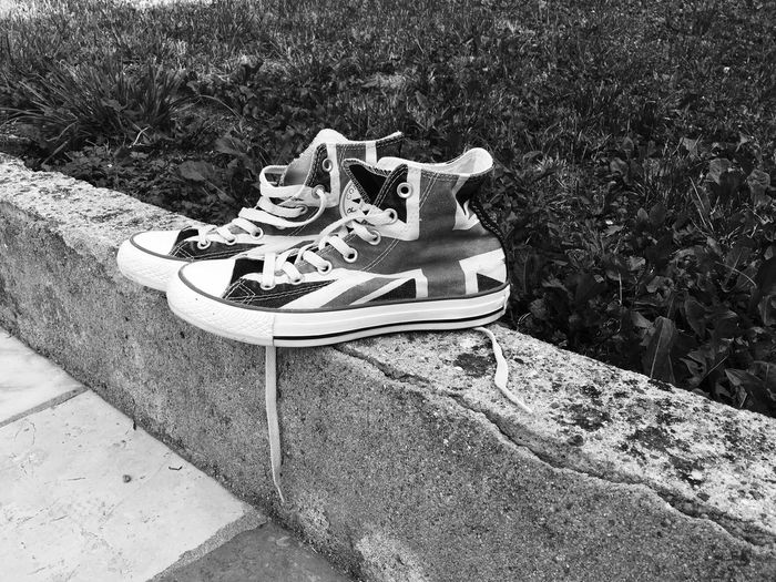 EyeEm LOST IN London High Angle View Shoe Pair Outdoors Day No People Grass Things That Go Together Musical Instrument Musical Instrument String Nature Black And White Love Converse