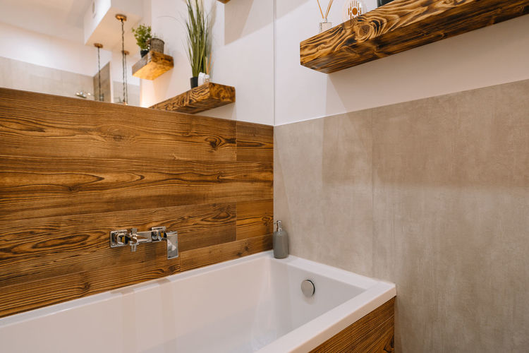 View of bathroom with bathtub at home