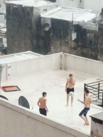 Youngboys Playing Football Undertherain Photography Fun Times ^_^ Rain Eyeemphotography