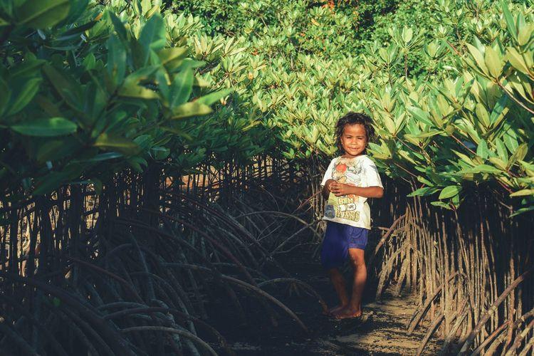 Portrait Of Smiling Boy Standing Amidst Plants