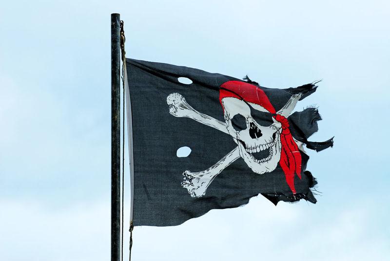 Jolly Roger Flag Blue Bones Cross Flag Jolly Roger No People Old Pole Skull Sky Torn