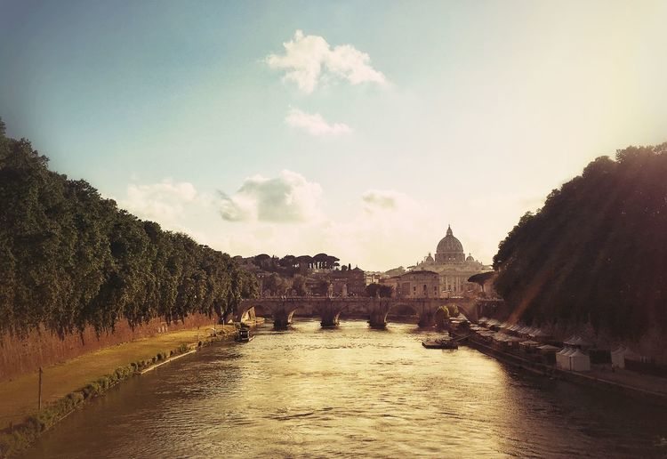 Ponte Sant Angelo Over Tiber River In City