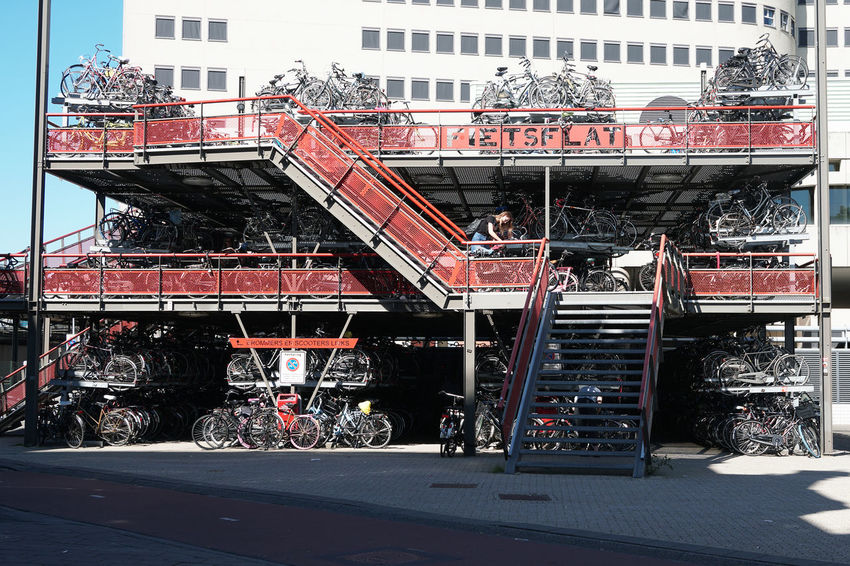 multistory bicycle parking at the train station Architecture Bicycle Bicycles Bike Bikes Built Structure City Cycle Cycling Day Dutch Europe Fietsflat Groningen Holland Multistorey Multistory Netherlands Parked Parking Transportation Travel