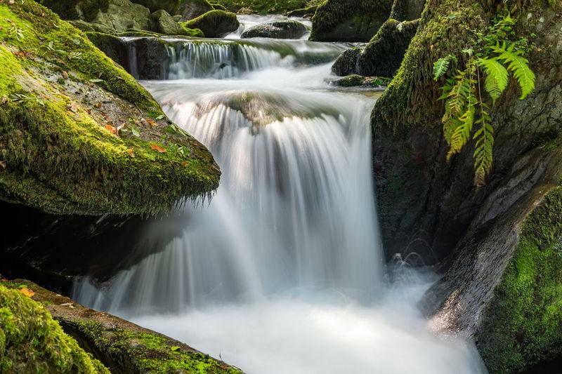 Long exposure of a waterfall flowing through the woods at watersmeet in exmoor