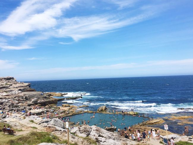 Clovelly Beach Sydney, Australia Sea Horizon Over Water Sky Water Scenics Beach Outdoors Large Group Of People Nature Day Beauty In Nature Cloud - Sky Architecture