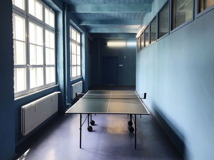 Lunch time table tennis Table Tennis Table Indoors  Window No People Table Lighting Equipment Architecture Illuminated Empty Building Day