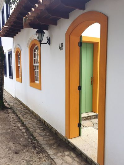 Door Architecture Built Structure Entrance Building Exterior House Entry No People Window The Way Forward Doorway Day Outdoors Orange Color Green Green Color Porto Seguro, Bahia