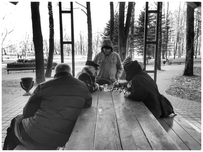 Belarus Minsk Park Real People Sitting Warm Clothing Day Leisure Activity Chess Black And White Outdoors Lifestyles