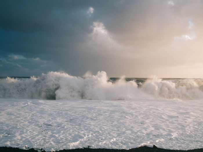 Power Iceland Water Travel Destinations Travel Cloud - Sky Scenics - Nature Sky Beauty In Nature Nature Motion No People Day Sea Power In Nature Outdoors Non-urban Scene Aquatic Sport Idyllic Sport White Color Waterfront Ocean Wave Sun Light Sunlight